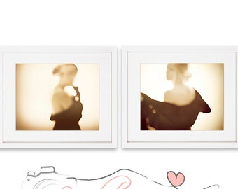Woman Silhouette Set of two, Photograpy Print, Photography, Sepia, Golden Palette, Dreamy,  Surreal Art, Nursery Decor, Wall Art, Wall Decor