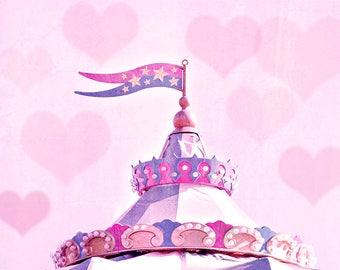 "Shabby Carousel, Photography Print, Nursery Decor, Carousel Art, Photo Prints, Pink Art, Bokeh, Color, Baby Wall Art - ""Shabby Carousel"""