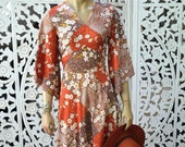 Vintage 70s handmade Asian patchwork print prairie style angel sleeve dress