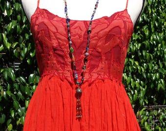 Vintage Poppy Orange dress with beaded applique bodice size M