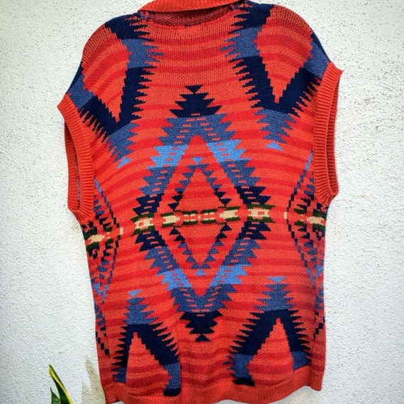 Vintage 90s southwest cardigan with faux horn toggle closure