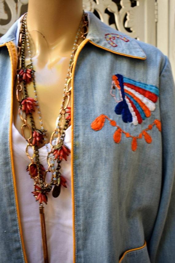 Vintage 70s embroidered denim jacket - image 2