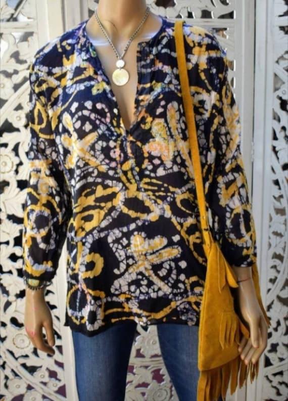 Vintage 1980s Cotton Full Sleeve Batik Print Tie Waist Dress fits most M-L