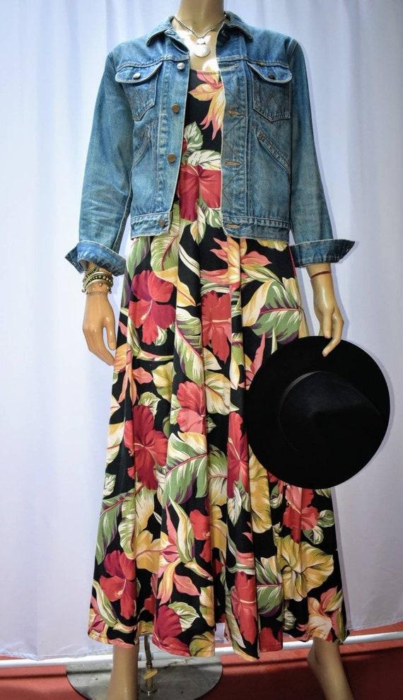 90s cotton knit maxi dress with tropical barkcloth