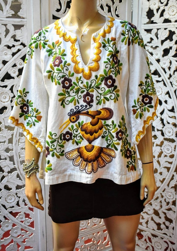 Vintage 70s hand embroidered angel sleeve blouse s