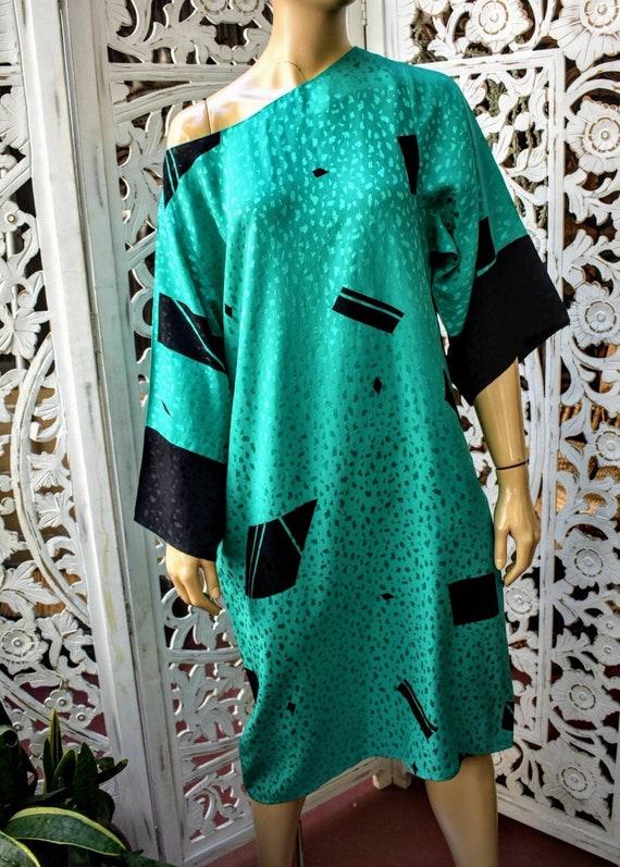 Vintage 80s avant garde silk dress One size fits m