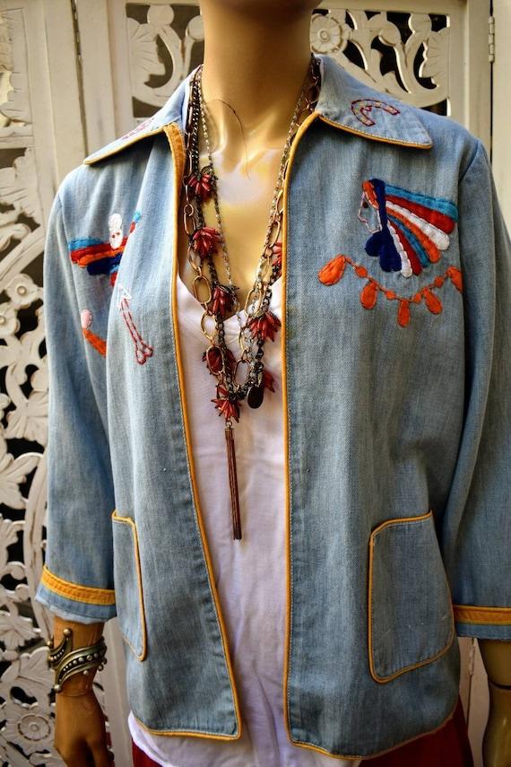 Vintage 70s embroidered denim jacket - image 1