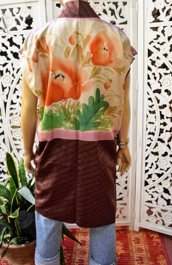Vintage reversible short sleeve kimono jacket