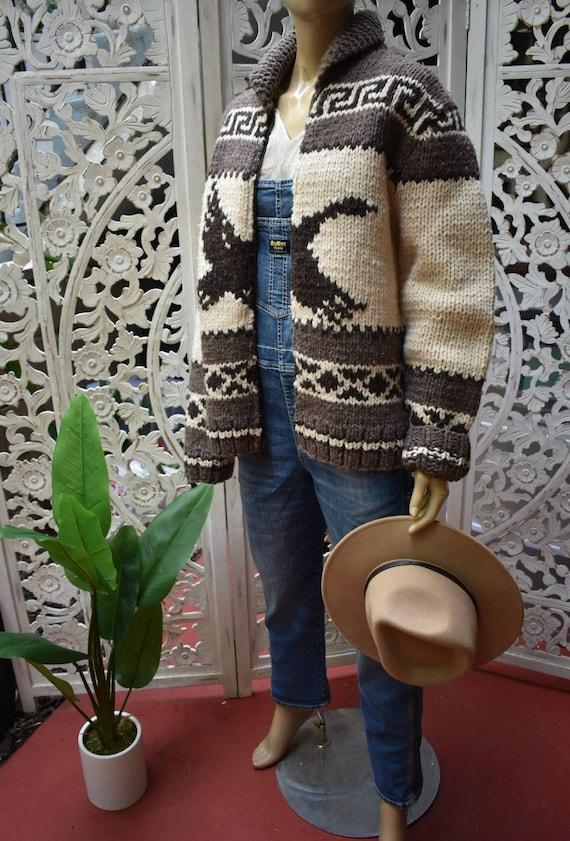 Vintage Cowichan style zip up sweater