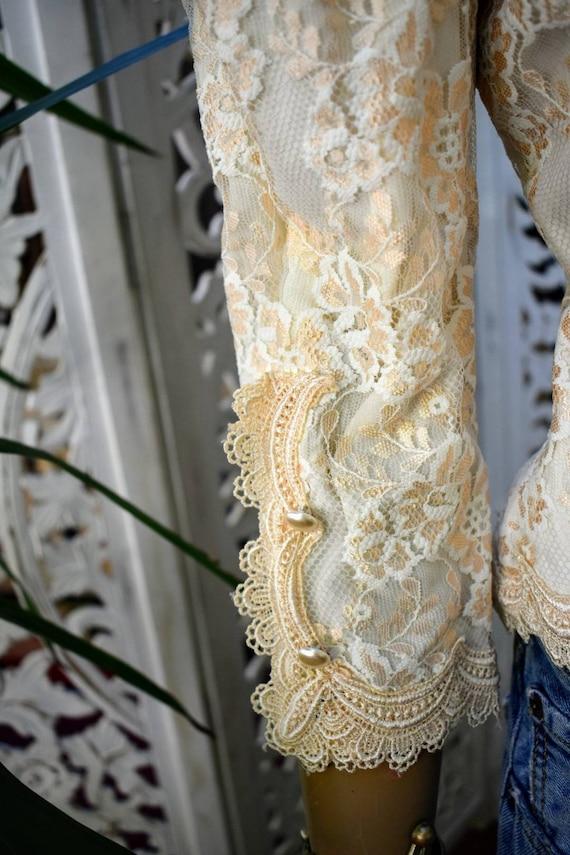 Vintage 70s/ 80s Gunne Sax style lace prairie blo… - image 3