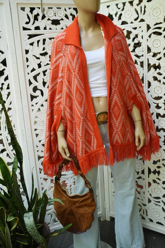 Sweetest red 1970s poncho cape.