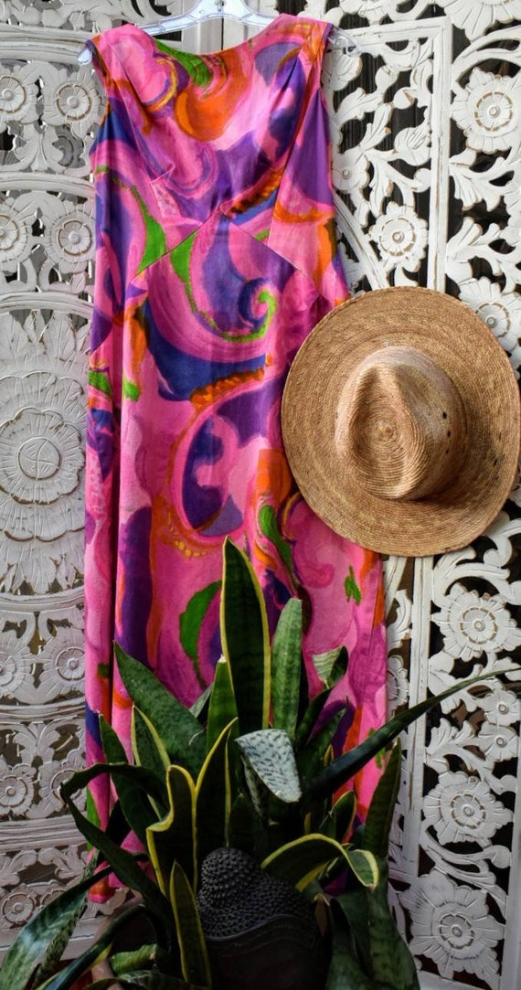 Trippy 70s psychedelic hawaiian maxi by Liberty Ho