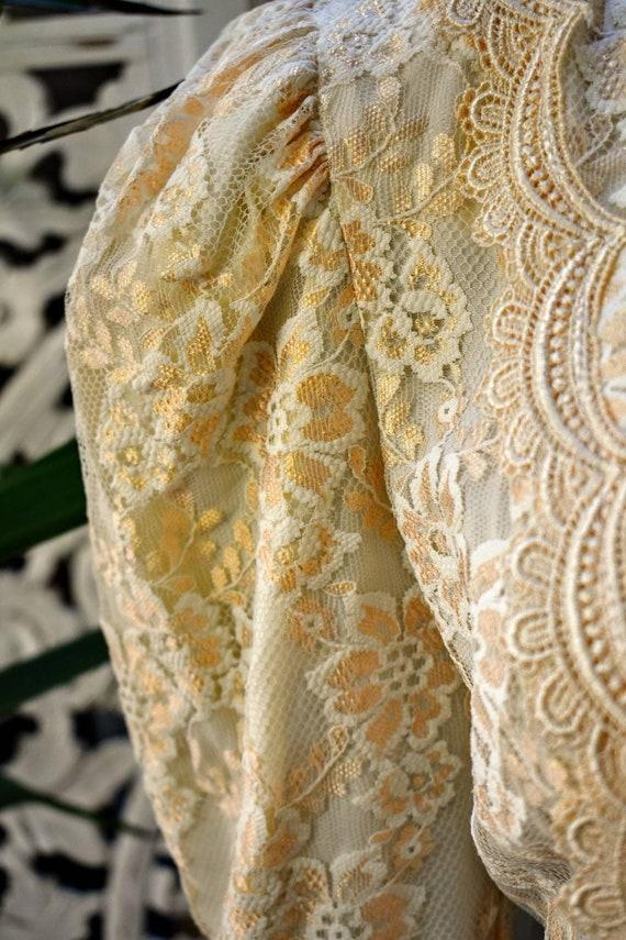 Vintage 70s/ 80s Gunne Sax style lace prairie blo… - image 4