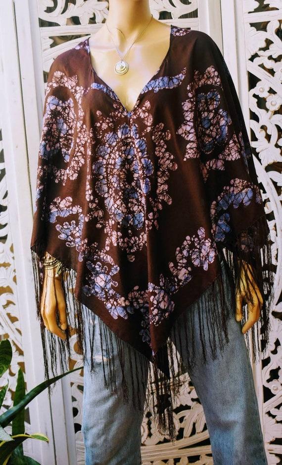 STUNNING vintage silk fringe poncho blouse. Hand d