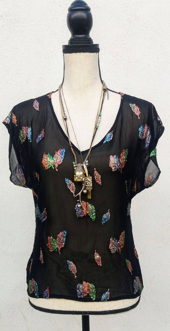 ViNtAgE 1970's/ 80's sheer black blouse with metal