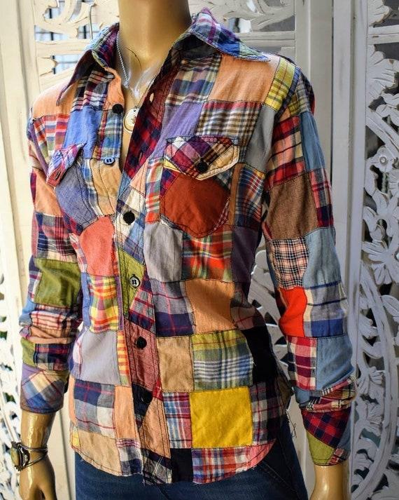 RARE true 70s patchwork madras shirt with western