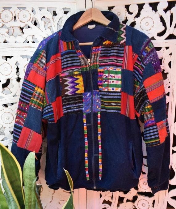 1990s Guatemalan patchwork indigo bomber jacket