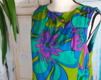 GROOVY 1960's psychedelic print maxi dress with low scoop back size M