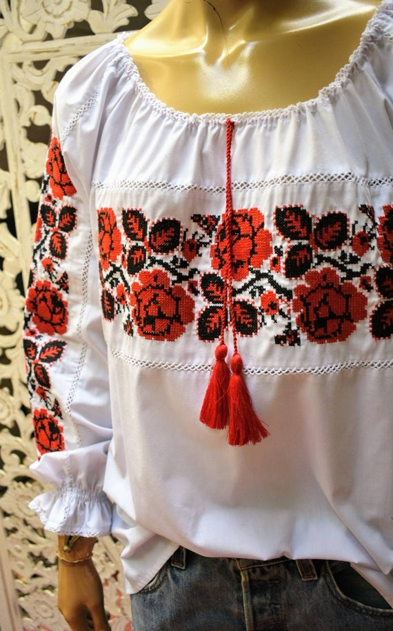 Vintage needlepoint embroidery Hungarian peasant … - image 4