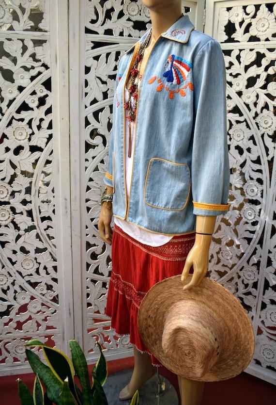 Vintage 70s embroidered denim jacket - image 10