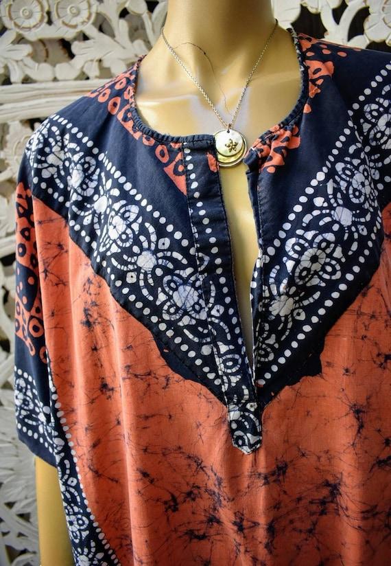 Authentic 70s buttersoft cotton batik kaftan