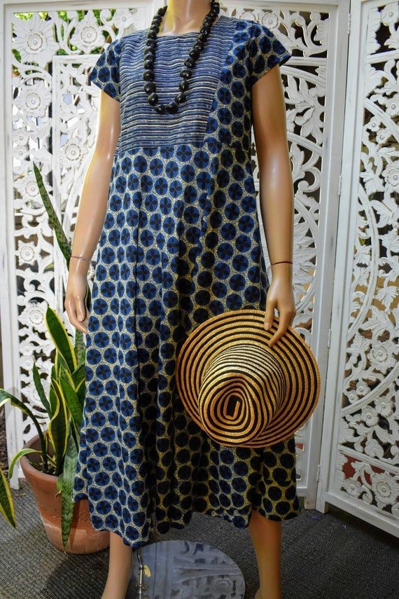 Vintage block print cotton dress