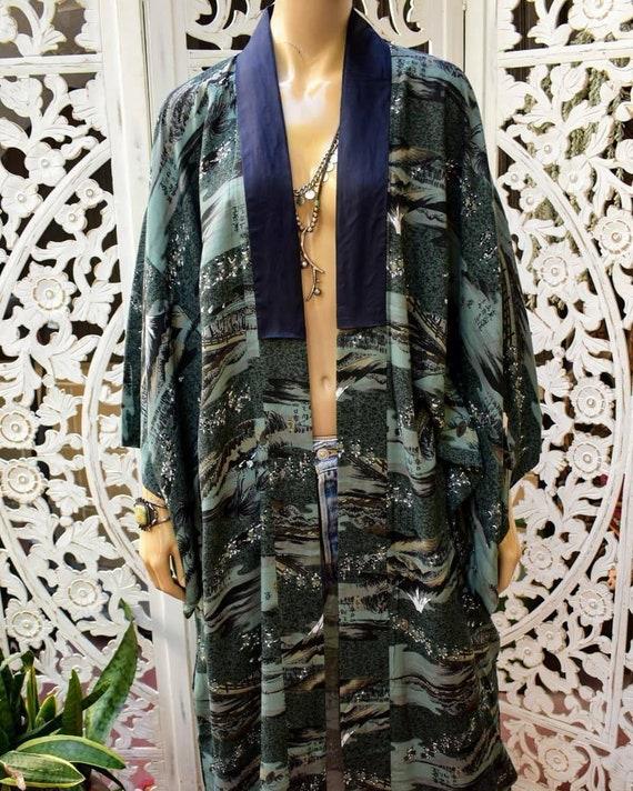 70s Vintage SATIN KIMONO Embroidered Dragon Robe Long Duster Dark Midnight Blue Asian Long Lightweight Jacket Boho Bohemian 1970s vtg S