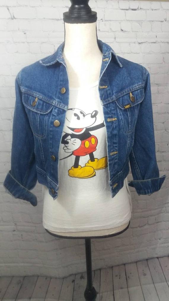 Vintage 70's Lee shrunken denim jacket size XS - image 1