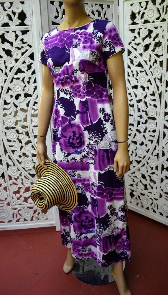 Vintage 60s Hawaiian print barkcloth dress. Size x