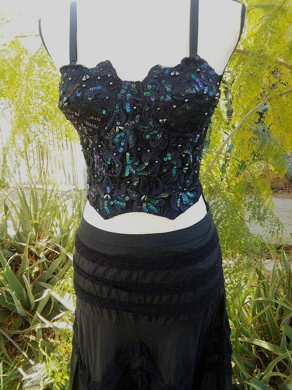 ViNtAgE 80's sequin and jewel encrusted lace busti