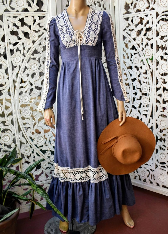 Vintage 1970s Gunne Sax chambray and crochet maxi