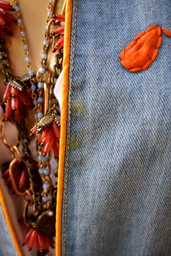 Vintage 70s embroidered denim jacket - image 8