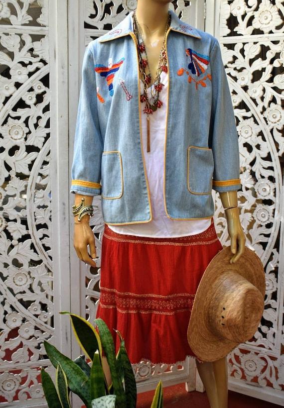 Vintage 70s embroidered denim jacket - image 3