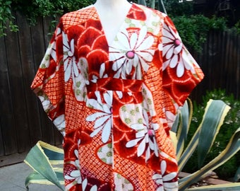 Vintage 1960's Hawaiian kimono maxi dress size small to medium