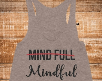 537609b0 Meditation Tank Top | Yoga Mindfulness Be Present Women's Tri-Blend  Racerback Tank | Live in the Moment Inspirational Zen Tank | Yoga Teach