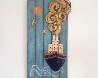Ceramic boat, Clay ship prow, Ship on wood, Wall hanging of a ship's prow, Clay sculpture, Marine decoration, Coastal house decoration