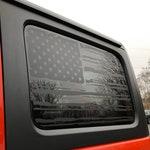 American Flag Decal - 2018+ JL Jeep Wrangler Unlimited Sport - Hardtop Side Window - Mate Black
