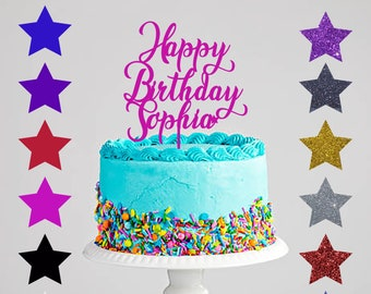 Personalised Happy Birthday Acrylic Cake Topper Gold Glitter