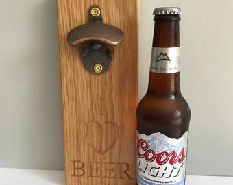 Solid Oak Wooden Personalised Bottle Opener, Rustic Bottle Opener, Gift for him, Wooden Bottle Opener, Birthday Gift, Fathers Day,
