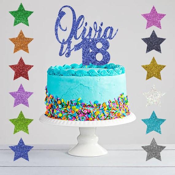 Pleasant 18Th Birthday Glitter Cake Topper Eighteenth Birthday Cake Etsy Funny Birthday Cards Online Fluifree Goldxyz