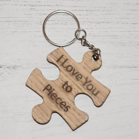 Wooden  I Love You to Pieces  Keyring  34809962efdf