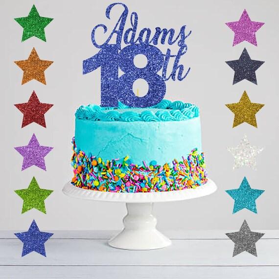 Pleasing 18Th Birthday Cake Topper Eighteenth Birthday Glitter Cake Etsy Personalised Birthday Cards Vishlily Jamesorg
