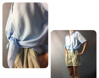 Silk 80s Vintage Blue Blouse Slouchy Oversized Medium XS S M Short Sleeve Buttons Up Women's Summer Shirt Festival Day Blouse Retro 80s Top