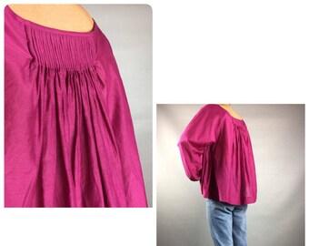 Malene Birger blouse Designer blouse Purple Crop blous Cotton shirt Vintage burgundy crop blouse Size small medium Women shirt Made in Italy