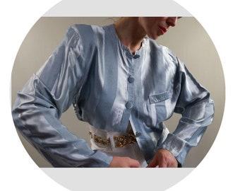80/'s Bob Mackie Wearable Art Evening Jacket  Size 12-14  Coral /& Navy Blue