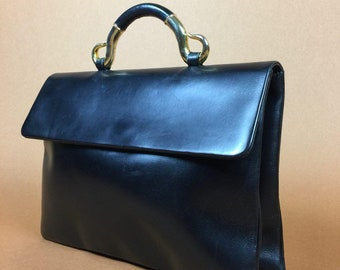 Givenchy Bag Designer Vintage 70s 1980s Bag RARE Collectible Heritage  Portfolio for Women Black Leather Handle Top Handle Bags Vintage Purse 6724111acb0e5