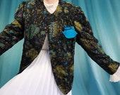 Quilted Jacket 80s Vintage Cotton Black Sz M