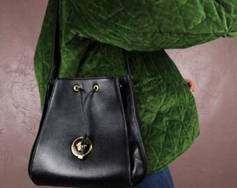 fb42aeae84 Gianni VERSACE Bucket 1980 s Vintage Bag Black Genuine Leather Designer  Handle Shoulder Women s Mens Unisex Bag Rare Authentic Collectible