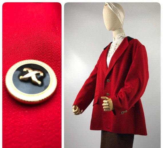 90s 80s vintage Red blazer Oversized Double Breast