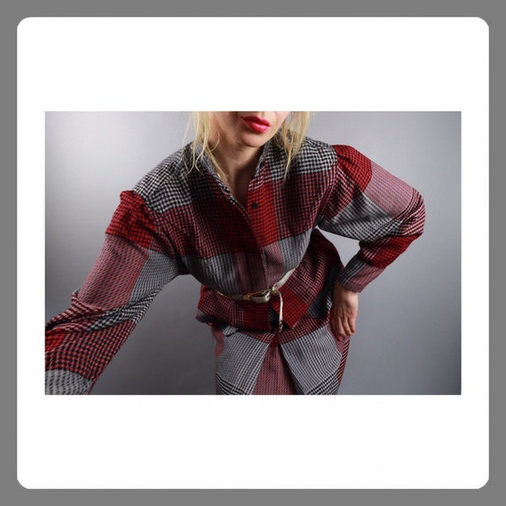Wool skirt Suit Grey Red Checkered 90s Vintage S M